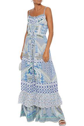 e26958178726 CAMILLA Salvador Summer embellished ruffled printed voile maxi dress