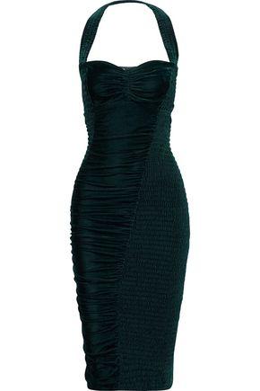 STELLA McCARTNEY Olympia cutout velvet halterneck dress