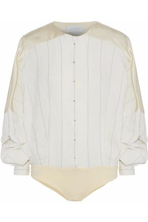 ESTEBAN CORTAZAR Paneled satin and pinstriped twill bodysuit