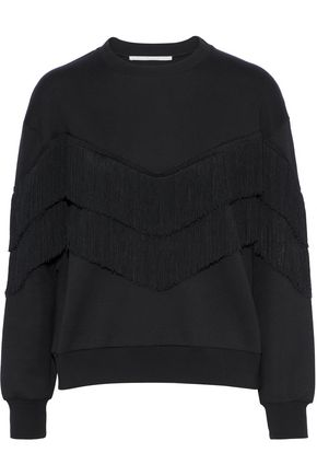 STELLA McCARTNEY Fringed French cotton-blend terry sweatshirt