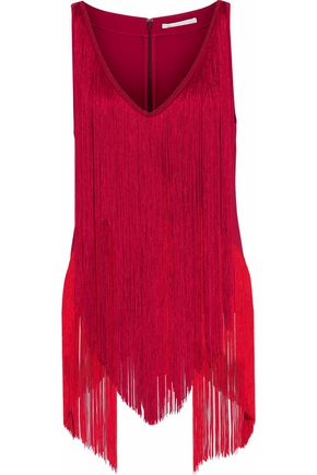 STELLA McCARTNEY Fringed two-tone crepe top