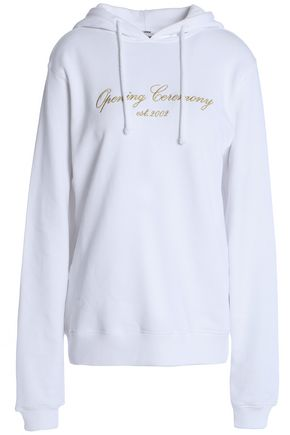 OPENING CEREMONY Metallic embroidered French cotton-terry sweatshirt