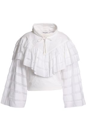 OPENING CEREMONY Ruffled tiered embroidered French cotton-terry sweatshirt