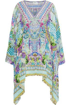CAMILLA Amazon Azure embellished printed silk crepe de chine coverup
