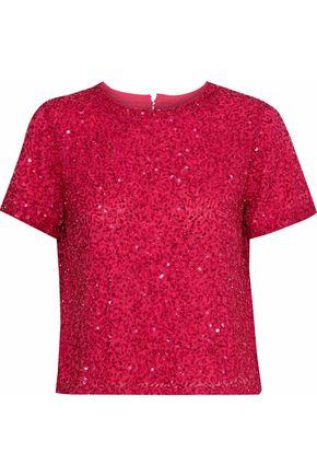 ALICE + OLIVIA Piera embellished chiffon T-shirt