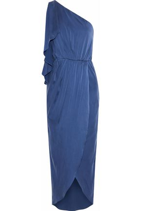 ALICE + OLIVIA Oleta one-shoulder draped washed stretch-silk midi dress