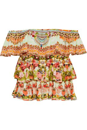 CAMILLA Samba Salada off-the-shoulder embellished printed woven top