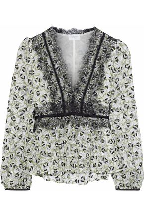 GIAMBATTISTA VALLI Embroidered cotton-blend lace blouse