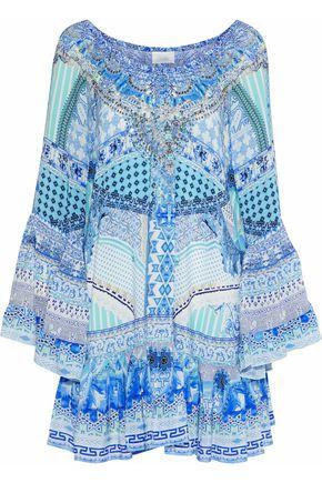 CAMILLA Garden State crystal-embellished printed silk mini dress