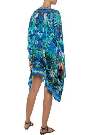 CAMILLA Amazon Azure embellished printed silk crepe de chine kaftan