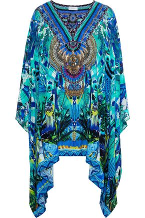 CAMILLA Amazon Azure embellished printed silk crepe de chine kaftan