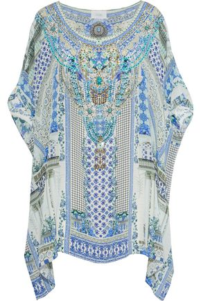 CAMILLA Salvador Summer embellished printed silk crepe de chine coverup
