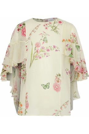 Cape Effect Ruffled Floral Print Silk Georgette Blouse by Giambattista Valli