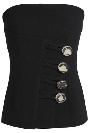Christopher Esber WOMAN BUTTON-DETAILED CREPE BUSTIER TOP BLACK