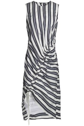CHRISTOPHER ESBER Lace-up striped cotton-blend midi dress