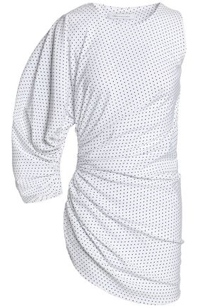 CHRISTOPHER ESBER One-sleeve polka-dot ruched woven top