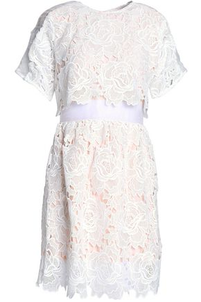 PERSEVERANCE Organza-paneled guipure lace mini dress