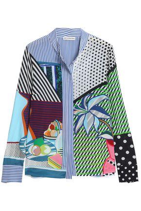 MARY KATRANTZOU Clara patchwork-effect printed washed-silk shirt
