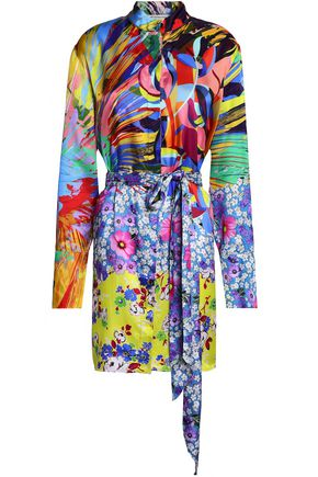 MARY KATRANTZOU Sonia printed satin-twill mini shirt dress