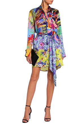 MARY KATRANTZOU Sonia printed satin-twill mini shirt dress