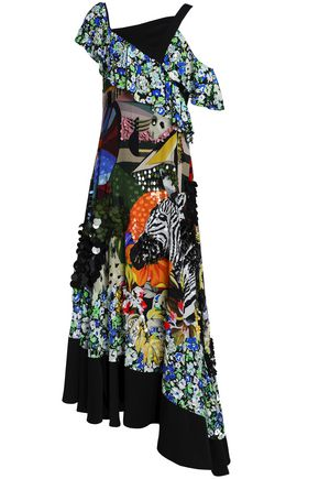 MARY KATRANTZOU Embellished printed silk crepe de chine gown