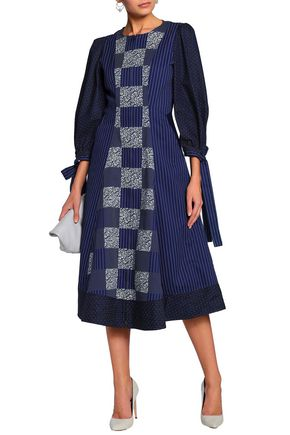 c9f91853b8 MARY KATRANTZOU Velvet-trimmed printed cotton and silk-blend midi dress
