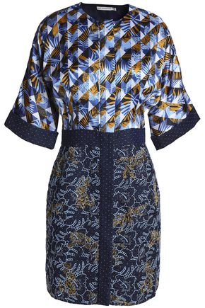 MARY KATRANTZOU Paneled printed and embroidered chambray mini dress