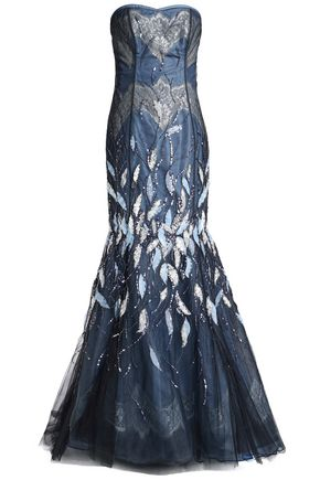 CAROLINA HERRERA Strapless embellished embroidered tulle and taffeta gown