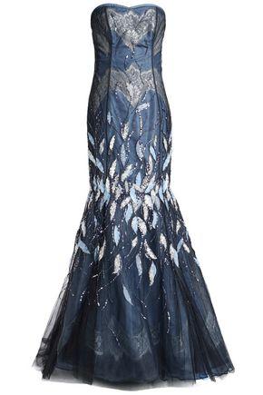 CAROLINA HERRERA ストラップレス 装飾付き 刺繍入り チュール&タフタ ロングドレス