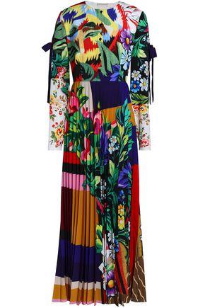 MARY KATRANTZOU Pleated printed crepe de chine maxi dress