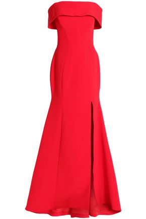 RACHEL GILBERT Off-the-shoulder woven gown