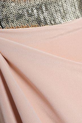 CAROLINA HERRERA Bow-embellished paneled sequined silk-georgette gown