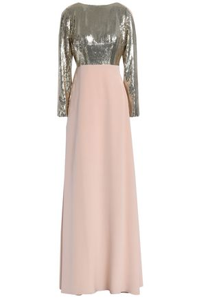 CAROLINA HERRERA Bow-embellished paneled sequined silk-georgette gown