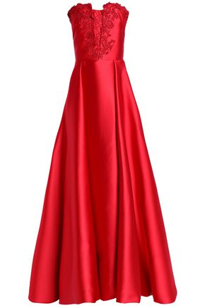 CAROLINA HERRERA Embellished embroidered duchesse satin gown