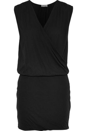 SOFT JOIE Faylen wrap-effect cotton-blend jersey mini dress