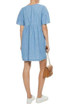 JOIE Yenvy lace-up cotton-blend chambray mini dress