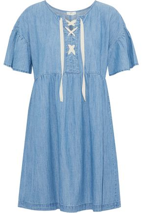 JOIE Yenvy lace-up cotton-blend chambray mini dress