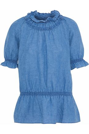 M.I.H JEANS Parkin linen and cotton-blend chambray peplum top