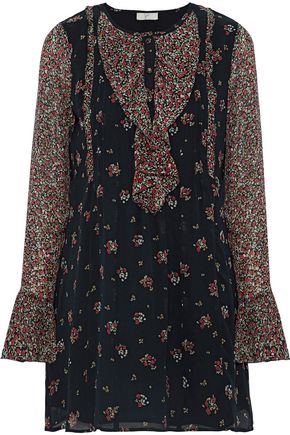 JOIE Amaryn ruffled floral-print silk crepe de chine mini dress