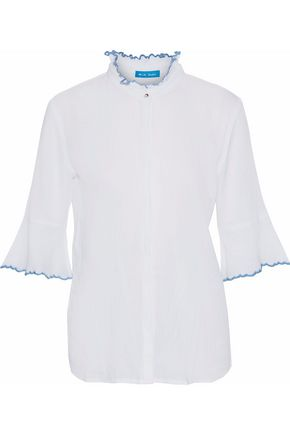 M.I.H JEANS Antin embroidered cotton-gauze blouse