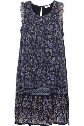 JOIE Tahoma B pintucked floral-print silk-georgette mini dress