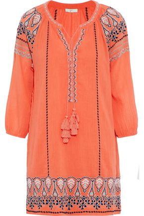 JOIE Nieva embroidered crinkled cotton-gauze mini dress