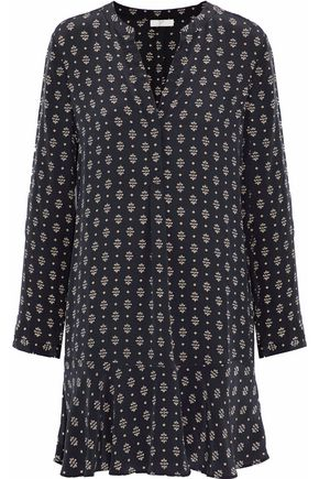JOIE Elroya printed washed-silk mini dress