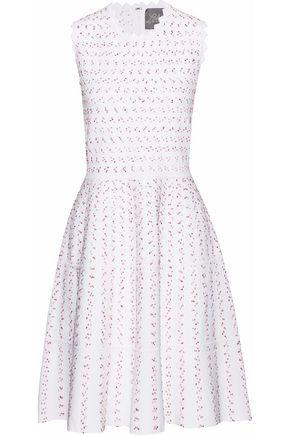 LELA ROSE Flared bouclé-knit dress