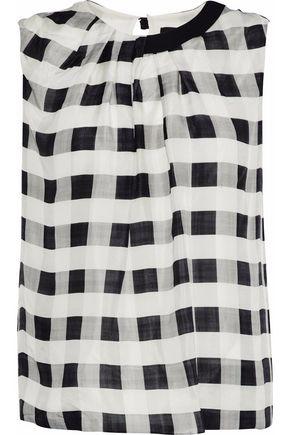 GIORGIO ARMANI Pleated gingham silk-chiffon blouse