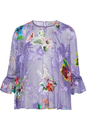 PREEN by THORNTON BREGAZZI Botanical floral-print fil coupé silk-blend blouse