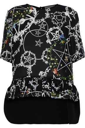 PREEN by THORNTON BREGAZZI Bonamy ruffle-trimmed printed silk-blend blouse