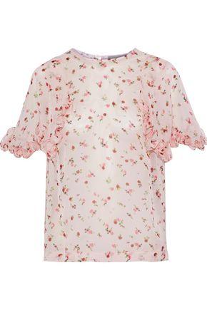 PREEN by THORNTON BREGAZZI Vera ruffle-trimmed floral-print silk-chiffon blouse