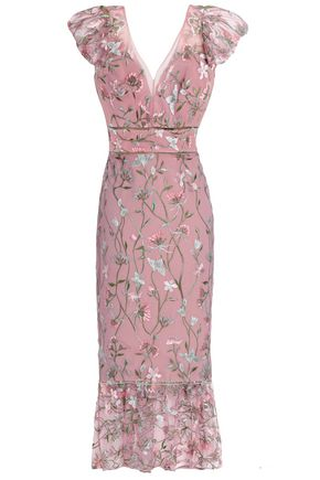 MARCHESA NOTTE Ruffle-trimmed embroidered tulle dress