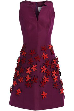 CAROLINA HERRERA Floral-appliquéd silk-faille mini dress